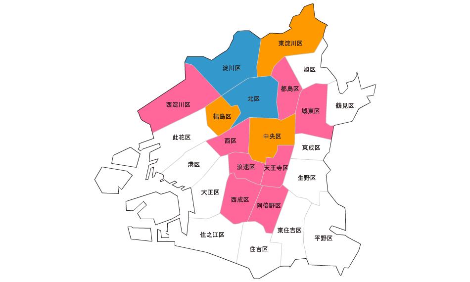大阪の色付き地図を作成